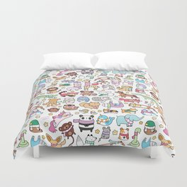 Winter Animals with Scarves Doodle Duvet Cover
