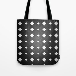 Black and White Leather Texture Diamond Pattern Tote Bag