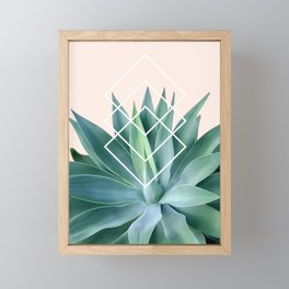 Agave geometrics - peach Framed Mini Art Print