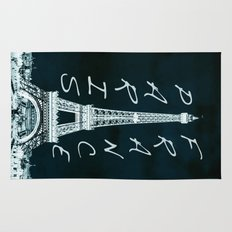 La Tour Eiffel - The Eiffel tower inverse with text Rug