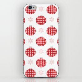 Red christmas ornaments iPhone Skin