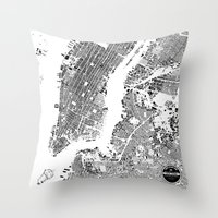 new york map Throw Pillows featuring New York Map by Maps Factory