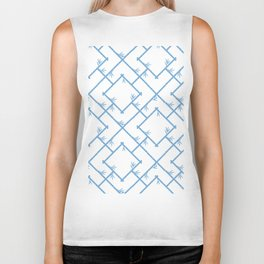 Bamboo Chinoiserie Lattice in White + Light Blue Biker Tank