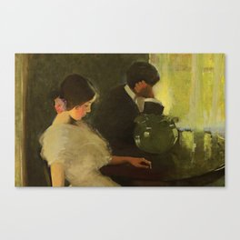 The Tiff, romantic portrait painting by Florence Carlyle  Canvas Print