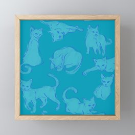 Cat Crazy teal circle Framed Mini Art Print