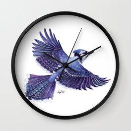 Blue Jay in Flight Wall Clock