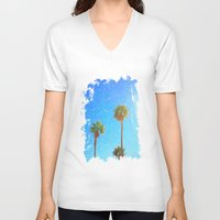 palms V-neck T-shirts featuring Palms by Tonya Doughty