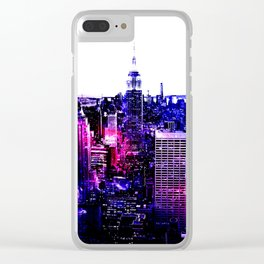 new york City Pink Purple Blue Clear iPhone Case