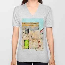 Tortora's building with small fountain Unisex V-Neck