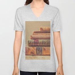 Vintage Book Stack (Color) Unisex V-Neck
