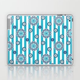 Mod Flowers in Turquoise, White and Navy Laptop & iPad Skin