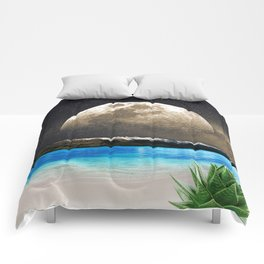 Aloe Vera Moon Beach Comforters
