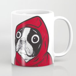 Red Hoodie Boston Terrier Kaffeebecher