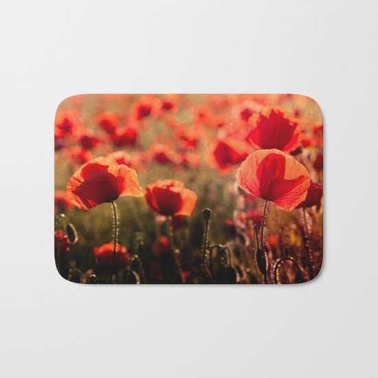 Fiery poppy field - Red Poppies Flowers Bath Mat