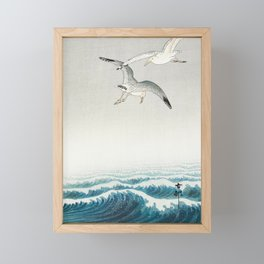 Seagulls over a stormy sea - Vintage Japanese Woodblock Print Art Framed Mini Art Print