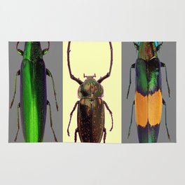 BEETLES ON CREAM & GREY  ABSTRACT ART Rug