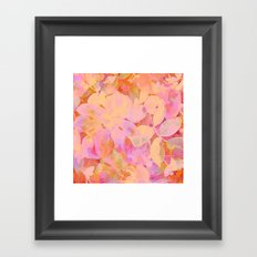 orange and peach floral Framed Art Print