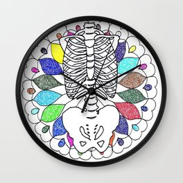 colourful skeleton Wall Clock