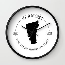 Vermont - The Green Mountain State Wall Clock