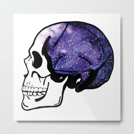 Galaxy Watercolor Skull Metal Print