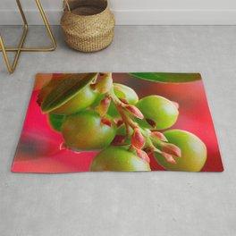 Green Berries Red Background #decor #society6 #buyart Rug