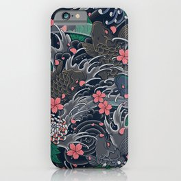 Japanese Koi Flower and Wave Pattern iPhone Case