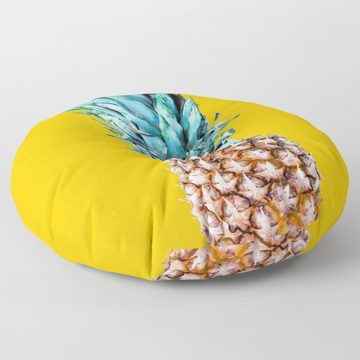 Pineapple Ananas On A Yellow Mellow Background #decor #society6 #buyart Floor Pillow