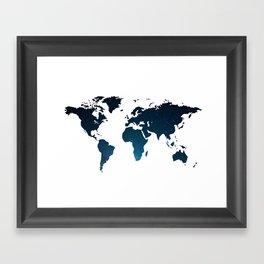Heaven Meets Earth - Galaxy World Map Framed Art Print