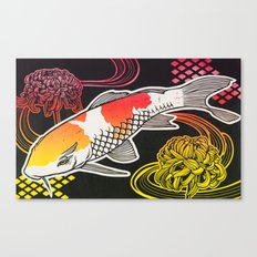 Koi with Chrysanthemums 2 Canvas Print