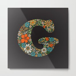 Hippie Floral Letter G Metal Print