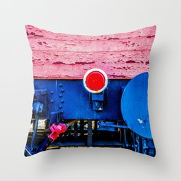 Old Freight Car Back Wall, Bumper And Red Reflector Throw Pillow