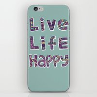snorlax iPhone & iPod Skins featuring Live Life Happy Poster by koppen Code