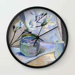 Flowers and vase Wall Clock