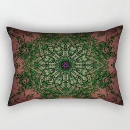 Warm Vintage Detailed Green Mandala Rectangular Pillow