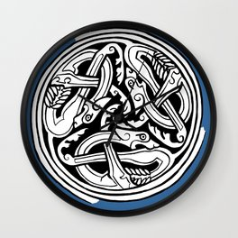 Celtic Art - Dog Triskele - on Blue Wall Clock