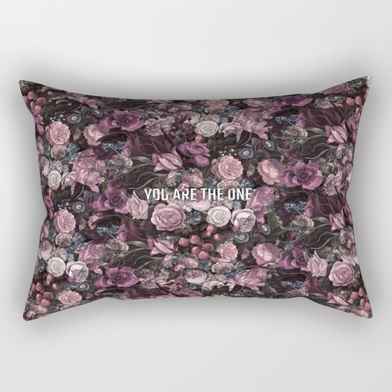 You Are The One // Floral Valentine's Heart Rectangular Pillow