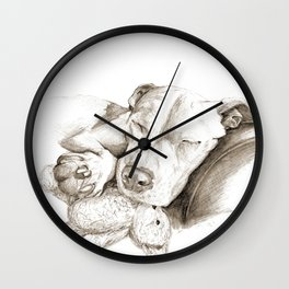 Let Sleeping Dogs Lie :: Sepia Wall Clock