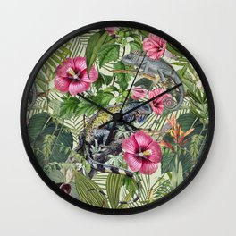 Jungle Reptiles In Tropical Vegetation Wall Clock