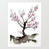 sakura Art Prints featuring Sakura by Brazen Edwards