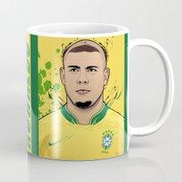 ronaldo Mugs featuring Football Legends: Ronaldo R9 Brasil  by Akyanyme