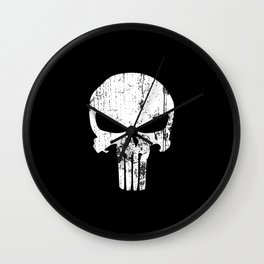 The Punisher Logo Black Background Wall Clock