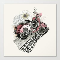 vespa Canvas Prints featuring Vespa by Mariqui Romero