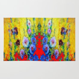 BLUE HOLLYHOCKS YELLOW & RED GARDEN MODERN ART Rug