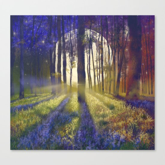 moonlight forest landscape Canvas Print