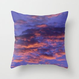 Pink and Blue Sky Throw Pillow
