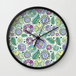 Corful floral surface Wall Clock