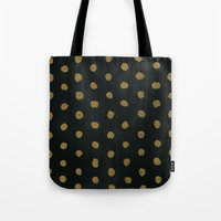 gold dots Tote Bags featuring GOLD DOTS by N A T