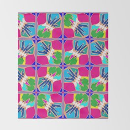 Tropical Shapes Pink Throw Blanket