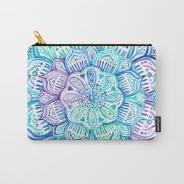 Iridescent Aqua and Purple Watercolor Mandala Carry-All Pouch