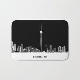 Toronto Skyline - White ground / Black Background Bath Mat